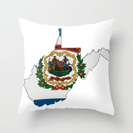 West Virginia Map with State Flag Throw Pillow