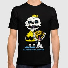 Happiness Is A Tiger MEDIUM Black Mens Fitted Tee