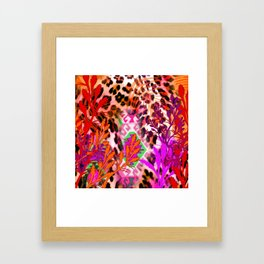 Jungle Leopard Electric Pinks Framed Art Print