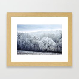Foggy Winter Landscape with snow covered Trees Framed Art Print