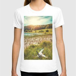 Wonderful small altitude french Genin lake in middle of wild pine forest in summer in Jura mountains T-shirt