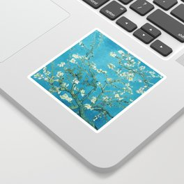 Vincent van Gogh Blossoming Almond Tree (Almond Blossoms) Light Blue Sticker