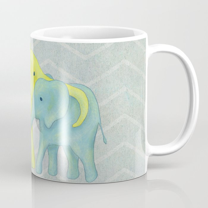 Elephant Family of Three in Yellow, Blue and Green Coffee Mug