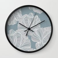 gray pattern Wall Clocks featuring Gray Roses Pattern - Blue  by Sweet Karalina