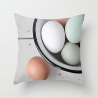 eggs Throw Pillows featuring Eggs by Schaepman & Habets