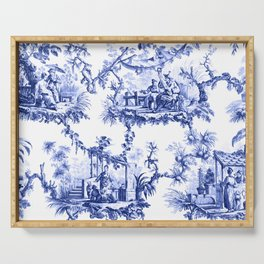 Blue Chinoiserie Toile Serving Tray