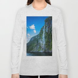 One of the numerous waterfalls falling down the sheer cliffs at Milford Sound. Long Sleeve T-shirt