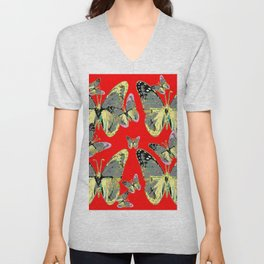 #2 CHARCOAL GREY WESTERN BUTTERFLIES ON RED Unisex V-Neck