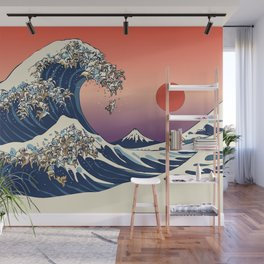 The Great Wave of English Bulldog Wall Mural