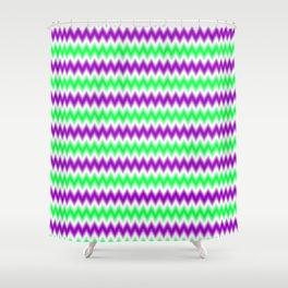 Chevron/Zigzagging Gradual Lavender & Bright Green Color Shower Curtain