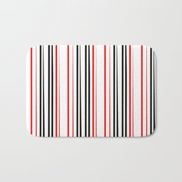 red black and white abstract striped pattern Bath Mat