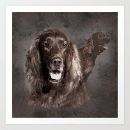 Irish Setter Dogs Digital Art Art Print