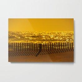 Beach Fence at sunset Metal Print