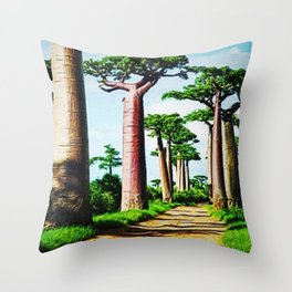 The Disappearing Giant Baobab Trees of Madagascar Landscape Painting Throw Pillow