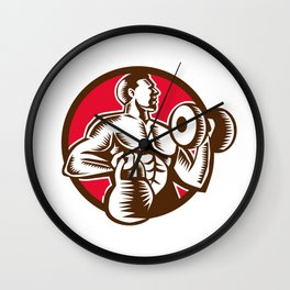 Athlete Lifting Kettlebell Dumbbell Circle Woodcut Wall Clock