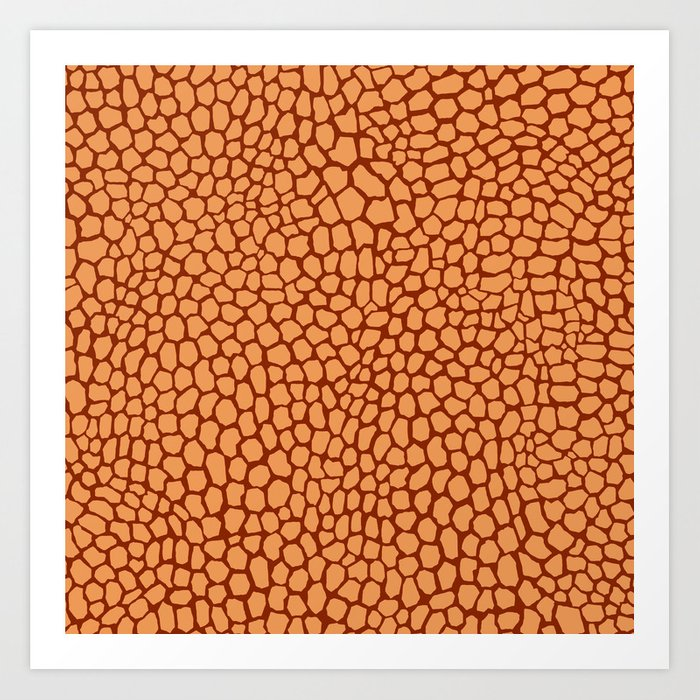 Reptile Pattern Rust and Peach Art Print