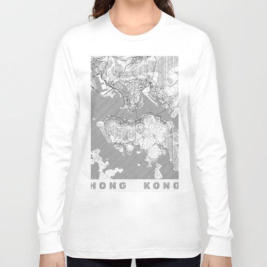 Hong Kong Map Line Long Sleeve T-shirt
