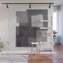 Gray and Pink Square Wall Mural