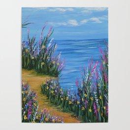 One Path, Ocean Seascape, Modern Impressionism, Beach Art Poster