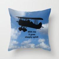 airplane Throw Pillows featuring airplane by Karl-Heinz Lüpke