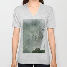 The Waterfalls at Milford Sound, New Zealand 01 Unisex V-Neck