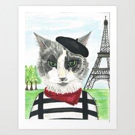 French Cat Mime in Paris Art Print