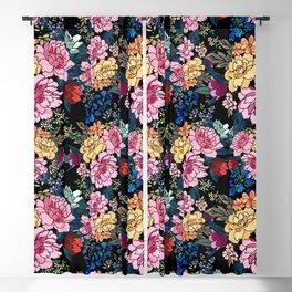 stylish winter flowers bouquets illustration Blackout Curtain