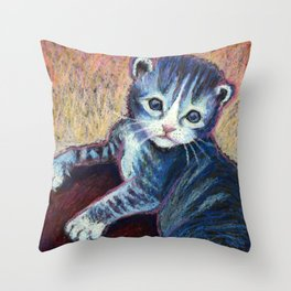 Button the Kitten Throw Pillow