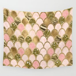 Rose gold blush mermaid scales Wall Tapestry