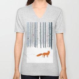 Fox in the white snow winter forest illustration Unisex V-Neck