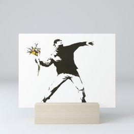 Banksy - Man Throwing Flowers - Antifa vs Police Manifestation Design For Men, Women, Poster Mini Art Print