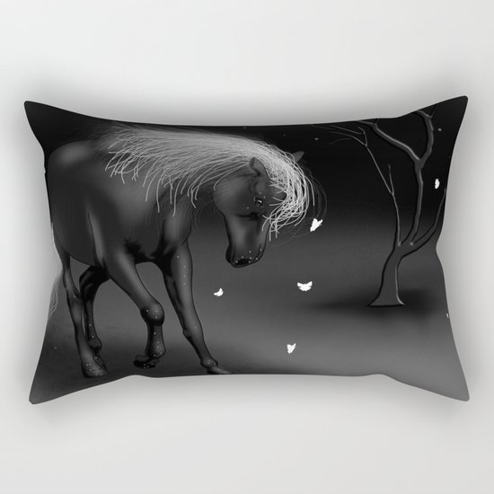 Black Horse Rectangular Pillow