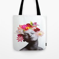 hippy Tote Bags featuring hippy by Federica Meli