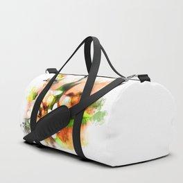 Beautiful tropical flowers on white Duffle Bag