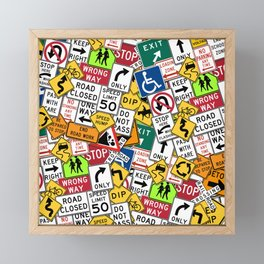 Street Signs Collage Framed Mini Art Print