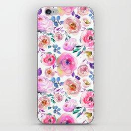 Elegant modern pink lilac orange watercolor floral iPhone Skin