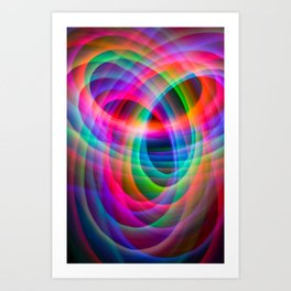 Spirograph rainbow light painting Art Print