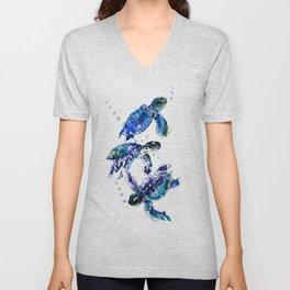 Three Sea Turtles, Marine Blue Aquatic design Unisex V-Neck
