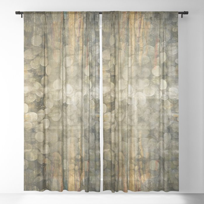 """""""Abstract golden river pebbles"""" Sheer Curtain"""