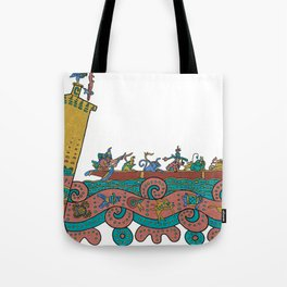 Puerto Morelos Light House (Antique Mexican Style) Tote Bag
