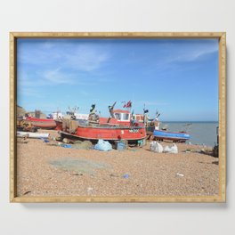 Fishing Boats On The Beach - Hastings, England Serving Tray