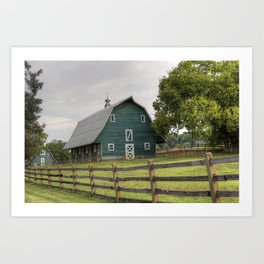 Country Barn in Teal with Wooden Fence Art Print