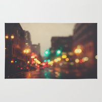 portland Area & Throw Rugs featuring Portland In The Rain by Laura Ruth