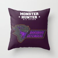 monster hunter Throw Pillows featuring Monster Hunter All Stars - BD by Bleached ink