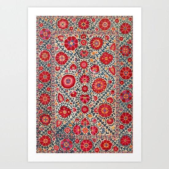Kermina Suzani Uzbekistan Embroidery Print by vickybragomitchell