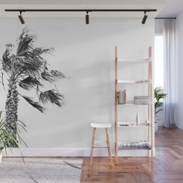 Gusty Black and White Palm Tree Wall Mural