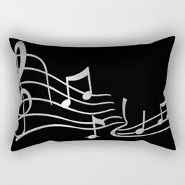 Silver Metallic Music Symbols Rectangular Pillow
