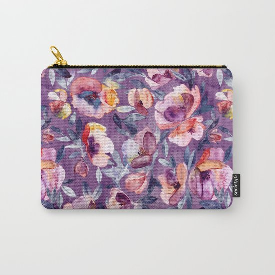 May Afternoon - a watercolor floral in purple and peach Carry-All Pouch