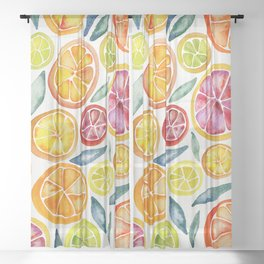 Sliced Citrus Watercolor Sheer Curtain