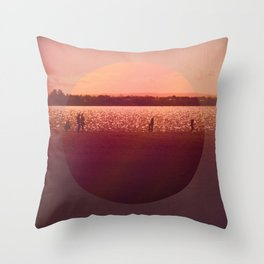 Vintage Coral Sunset, Winter Beach Throw Pillow